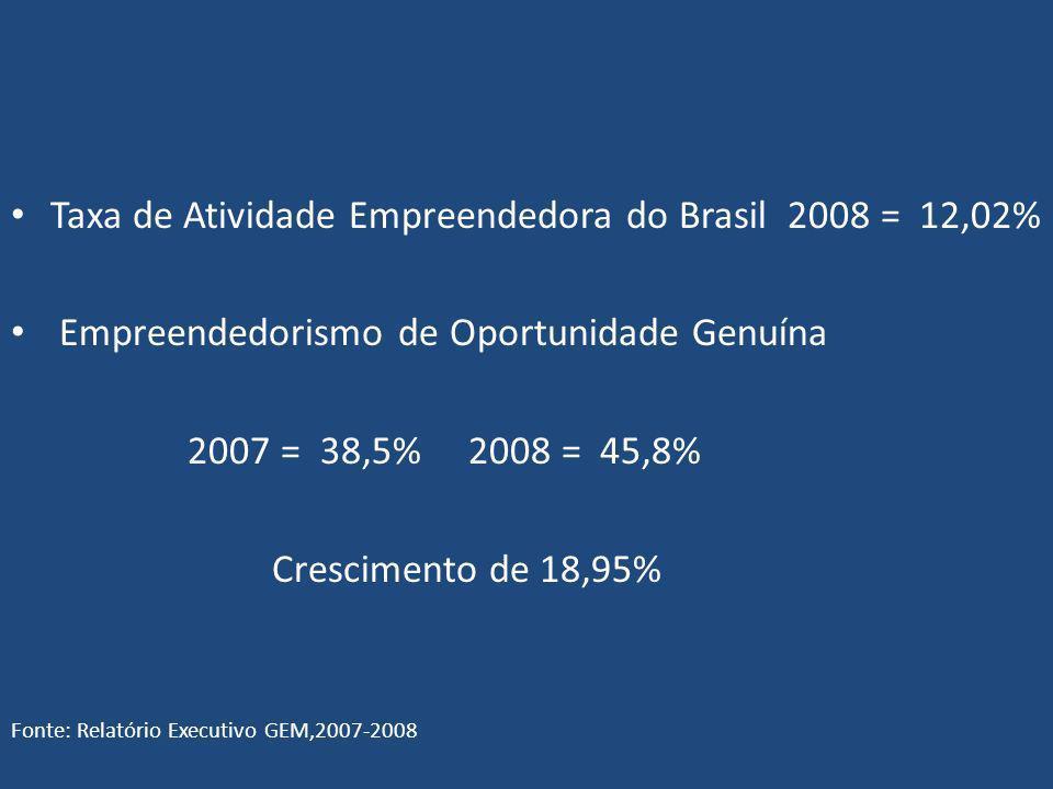 Taxa de Atividade Empreendedora do Brasil 2008 = 12,02%
