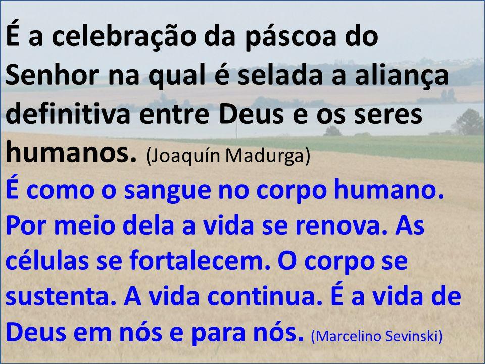 É a celebração da páscoa do Senhor na qual é selada a aliança definitiva entre Deus e os seres humanos. (Joaquín Madurga)