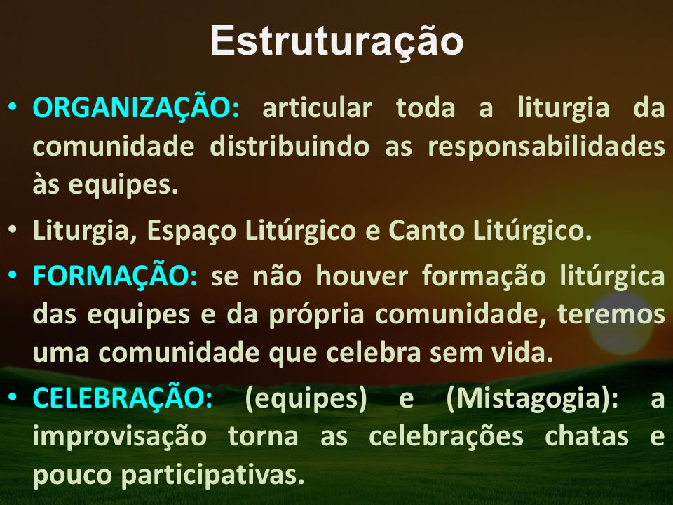Estruturação ORGANIZAÇÃO: articular toda a liturgia da comunidade distribuindo as responsabilidades às equipes.
