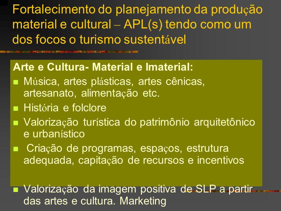 Fortalecimento do planejamento da produção material e cultural – APL(s) tendo como um dos focos o turismo sustentável