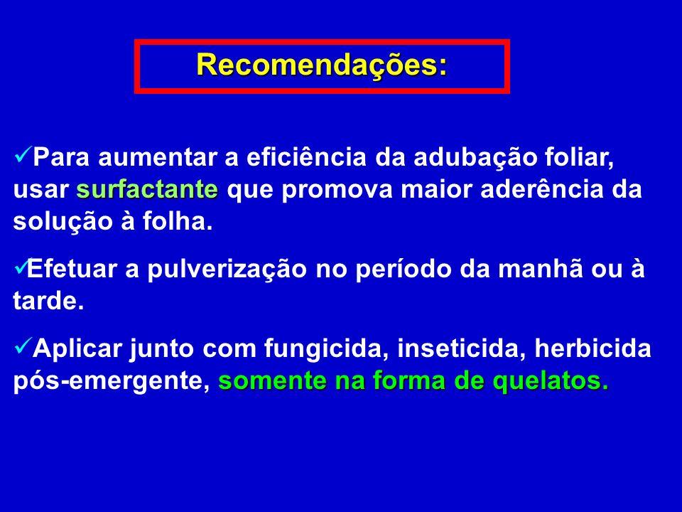 Recomendações:Para aumentar a eficiência da adubação foliar, usar surfactante que promova maior aderência da solução à folha.