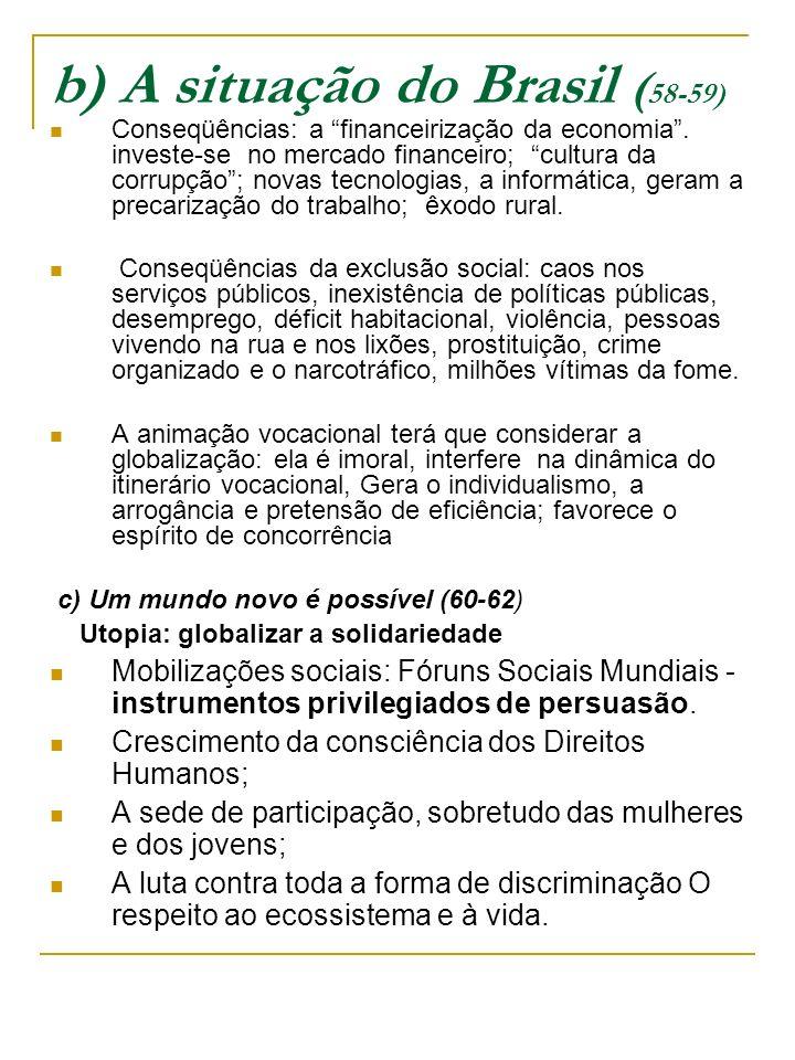 b) A situação do Brasil (58-59)