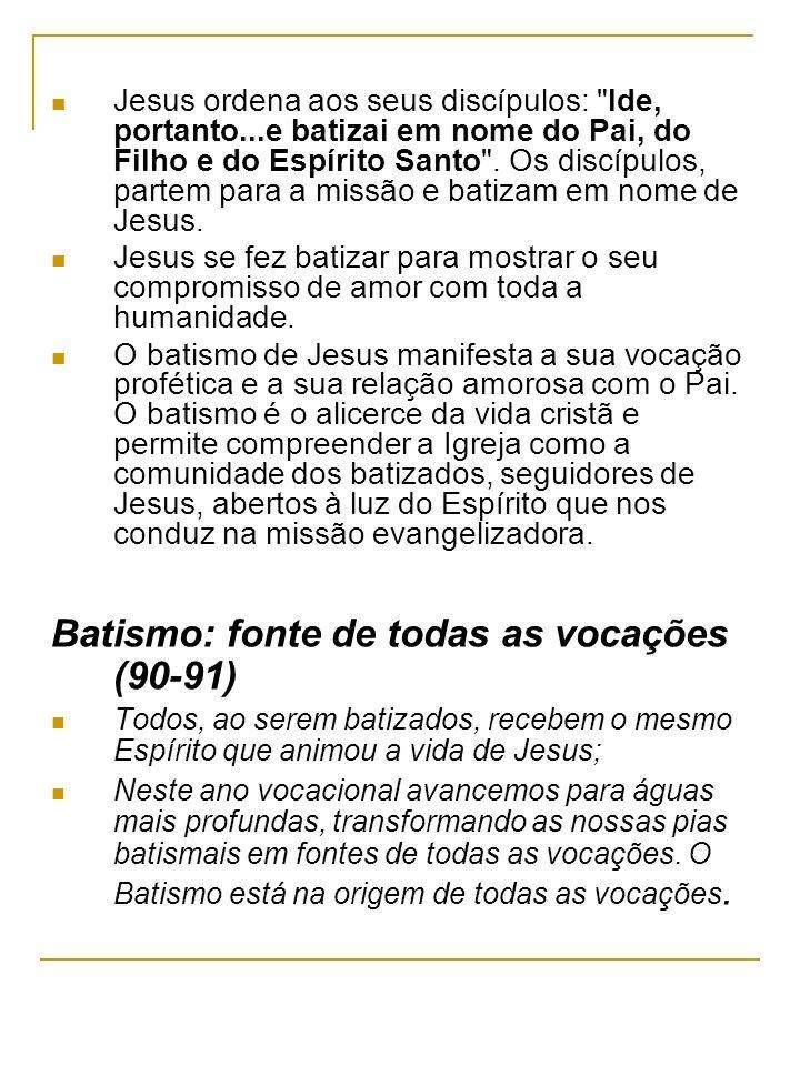 Batismo: fonte de todas as vocações (90-91)