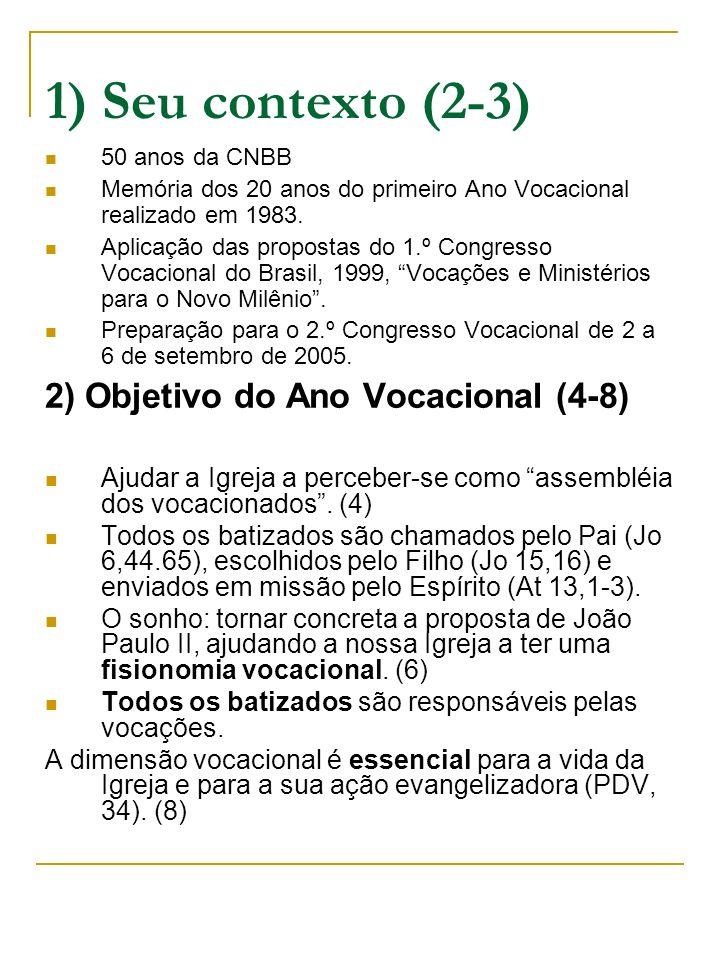 1) Seu contexto (2-3) 2) Objetivo do Ano Vocacional (4-8)