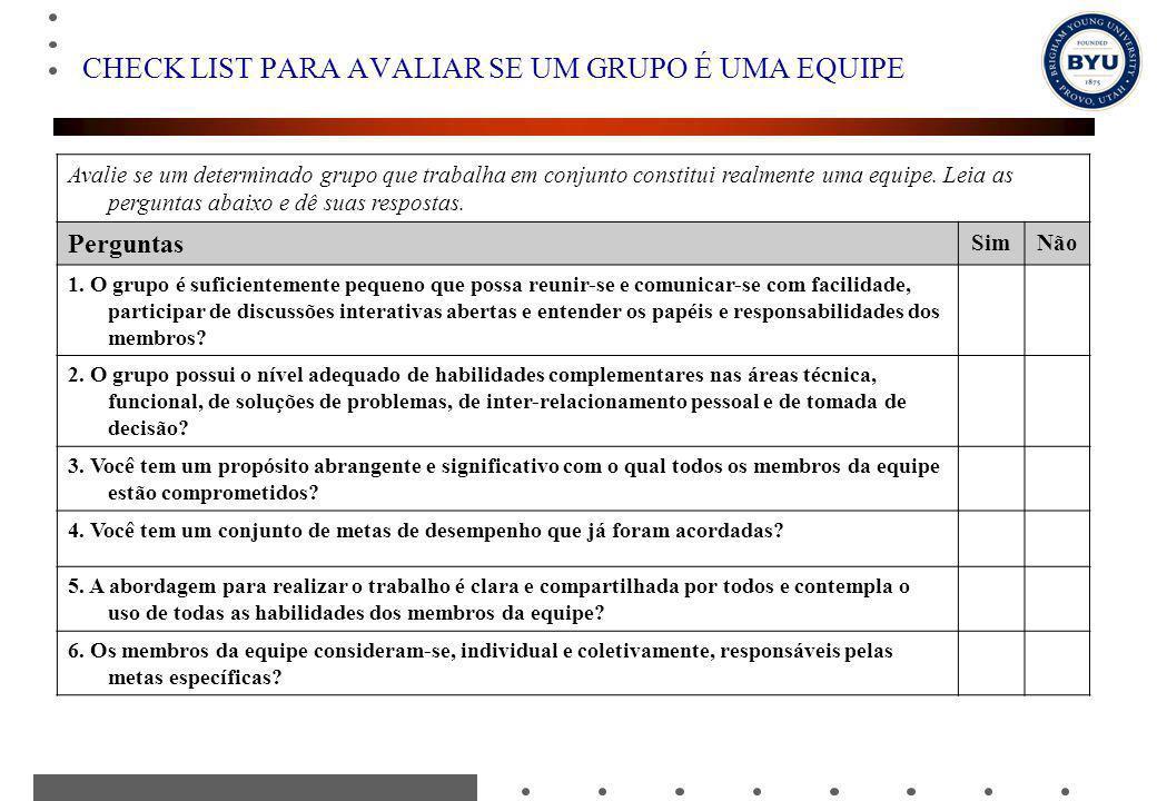 CHECK LIST PARA AVALIAR SE UM GRUPO É UMA EQUIPE