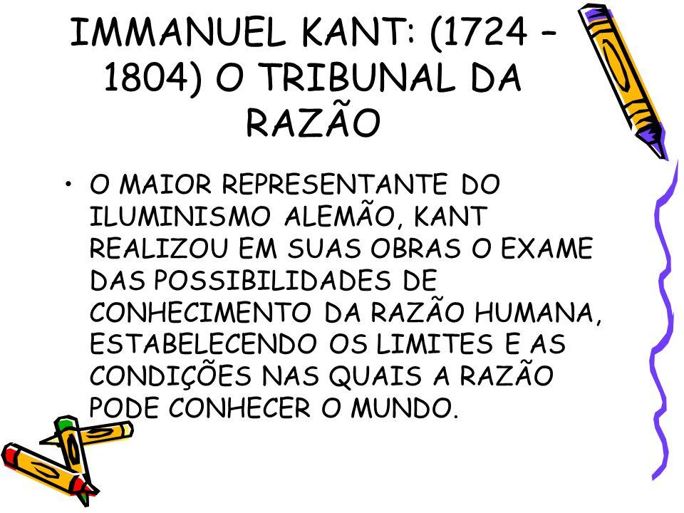 IMMANUEL KANT: (1724 – 1804) O TRIBUNAL DA RAZÃO