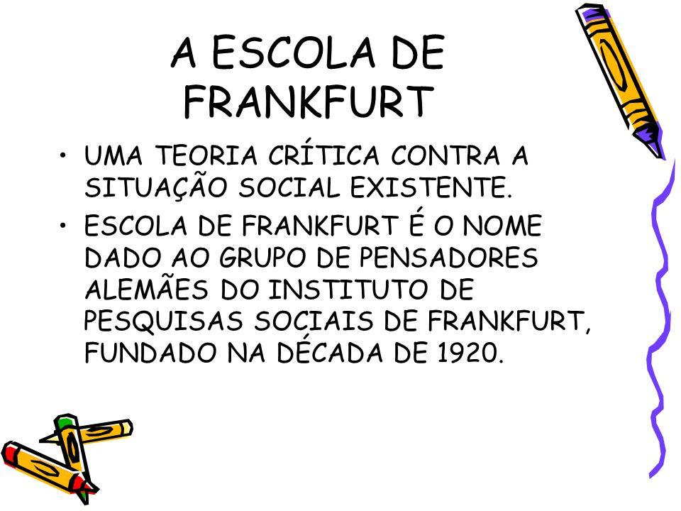 A ESCOLA DE FRANKFURT UMA TEORIA CRÍTICA CONTRA A SITUAÇÃO SOCIAL EXISTENTE.