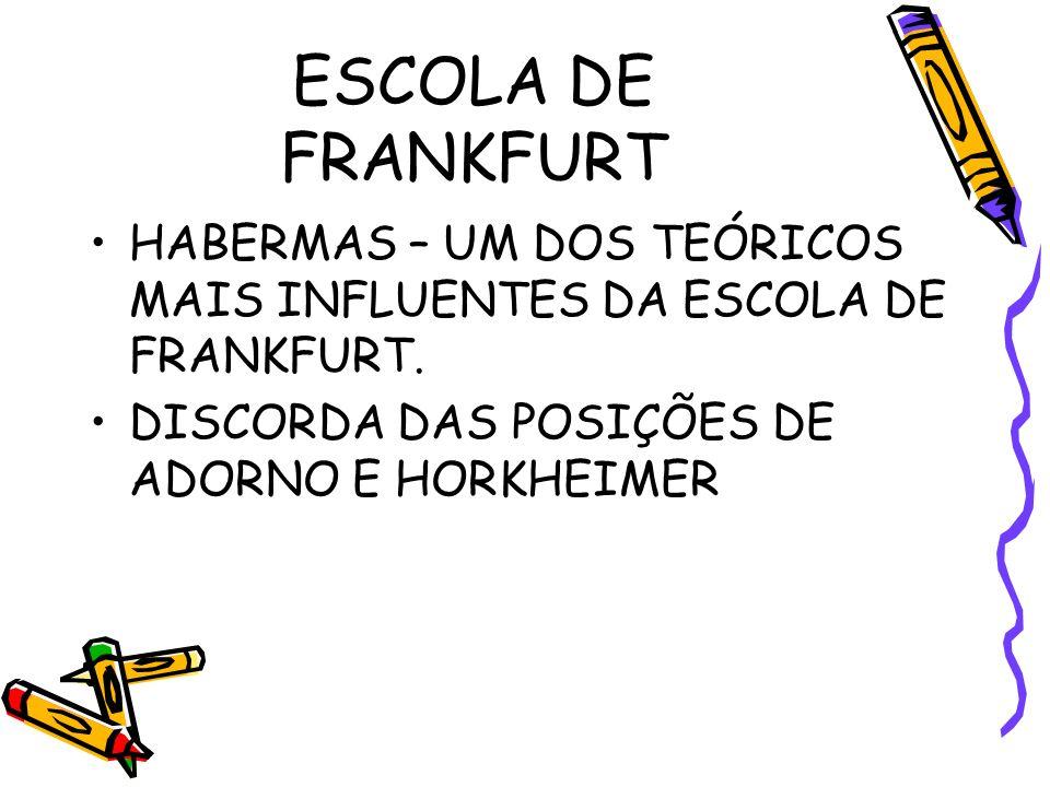 ESCOLA DE FRANKFURT HABERMAS – UM DOS TEÓRICOS MAIS INFLUENTES DA ESCOLA DE FRANKFURT.