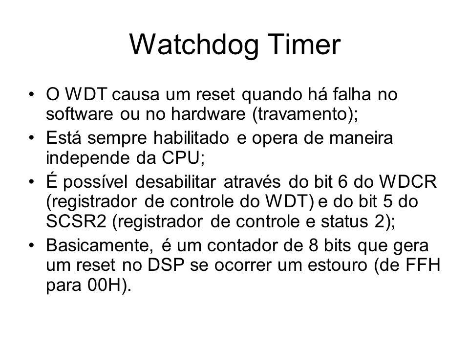 Watchdog Timer O WDT causa um reset quando há falha no software ou no hardware (travamento);