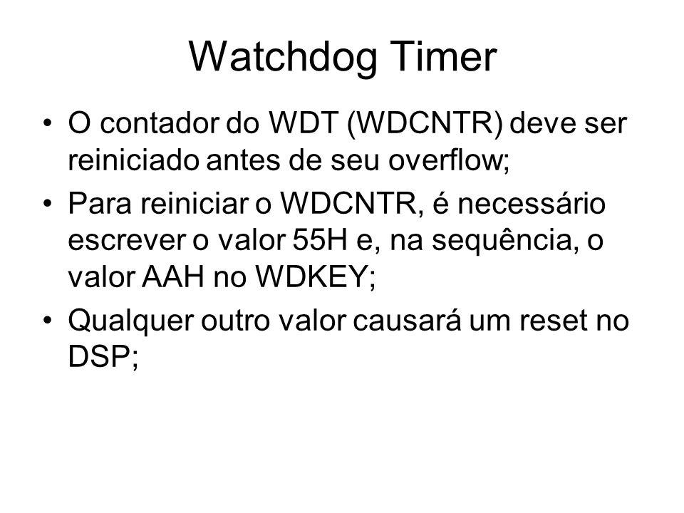 Watchdog Timer O contador do WDT (WDCNTR) deve ser reiniciado antes de seu overflow;