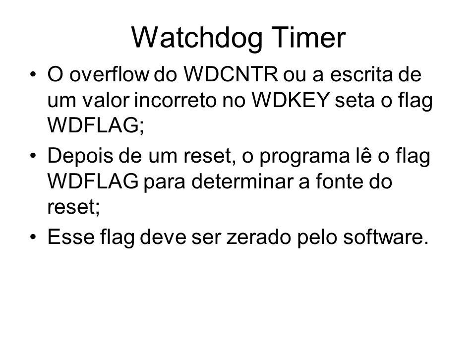 Watchdog Timer O overflow do WDCNTR ou a escrita de um valor incorreto no WDKEY seta o flag WDFLAG;