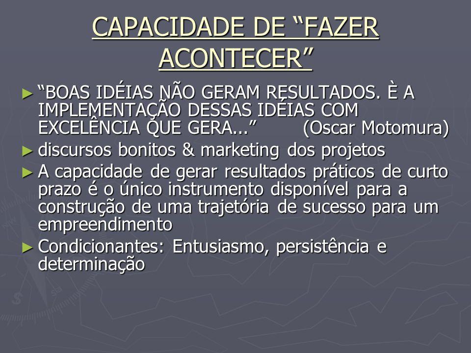 CAPACIDADE DE FAZER ACONTECER