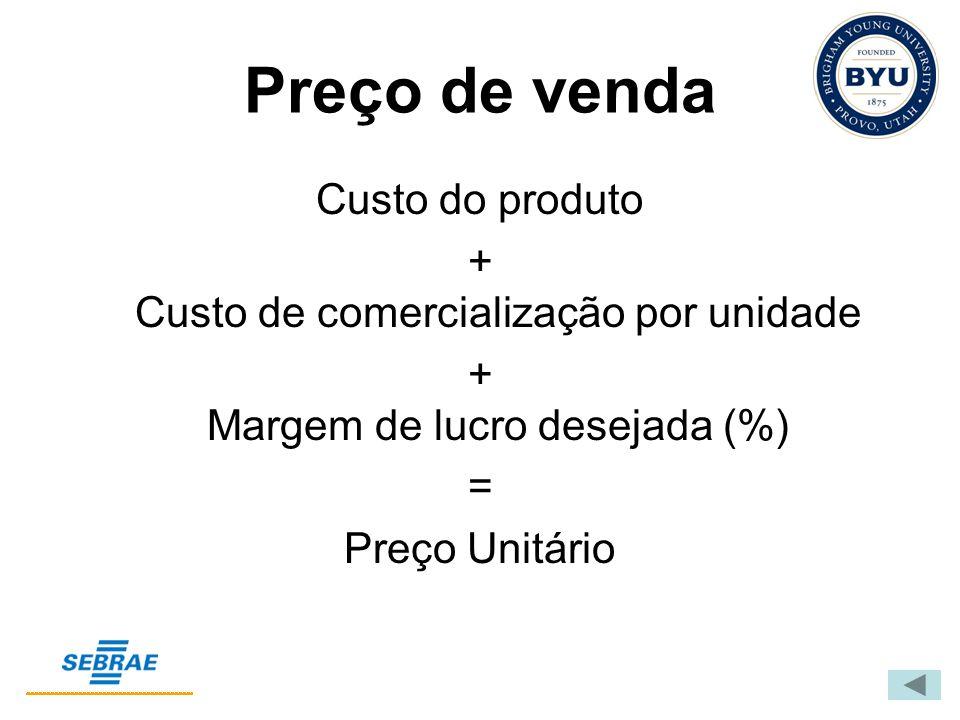 Preço de venda Custo do produto + Custo de comercialização por unidade