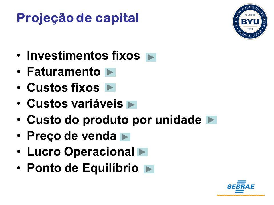 Projeção de capital Investimentos fixos Faturamento Custos fixos