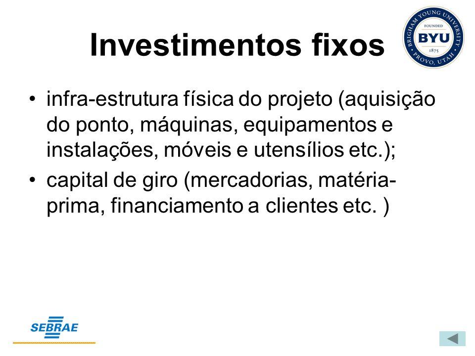 Investimentos fixos infra-estrutura física do projeto (aquisição do ponto, máquinas, equipamentos e instalações, móveis e utensílios etc.);