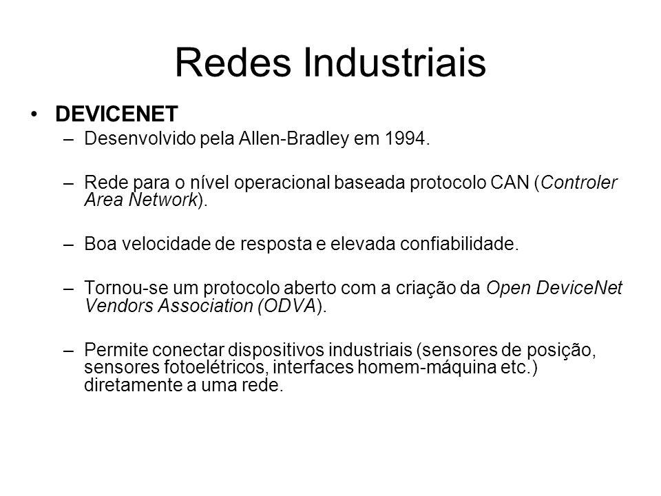 Redes Industriais DEVICENET Desenvolvido pela Allen-Bradley em 1994.