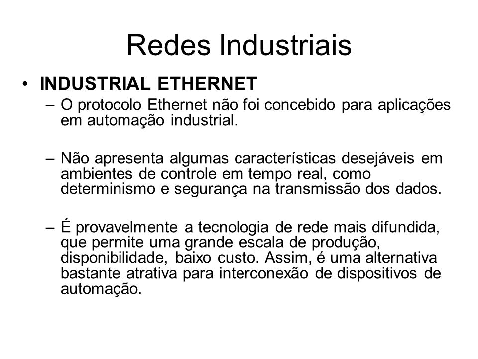Redes Industriais INDUSTRIAL ETHERNET
