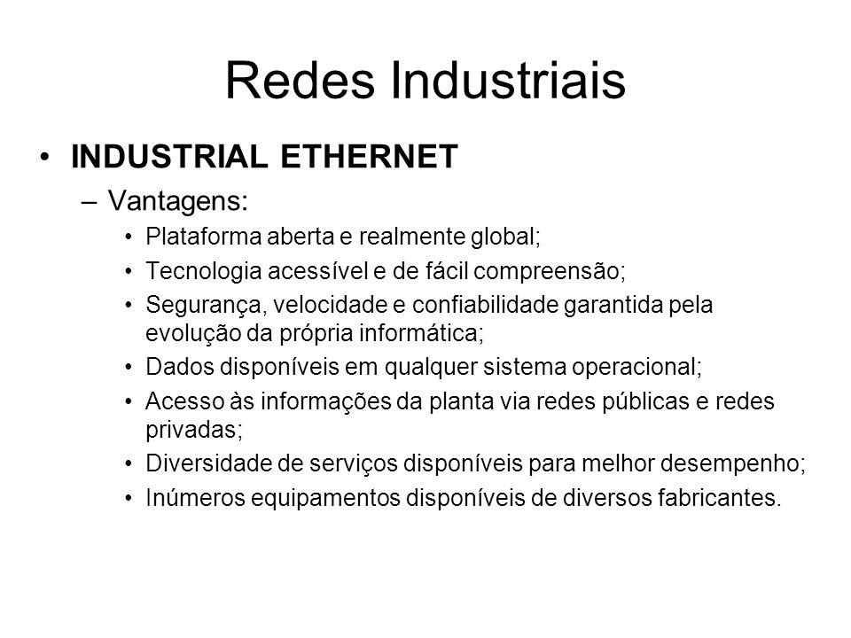 Redes Industriais INDUSTRIAL ETHERNET Vantagens: