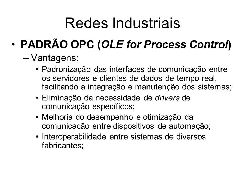 Redes Industriais PADRÃO OPC (OLE for Process Control) Vantagens: