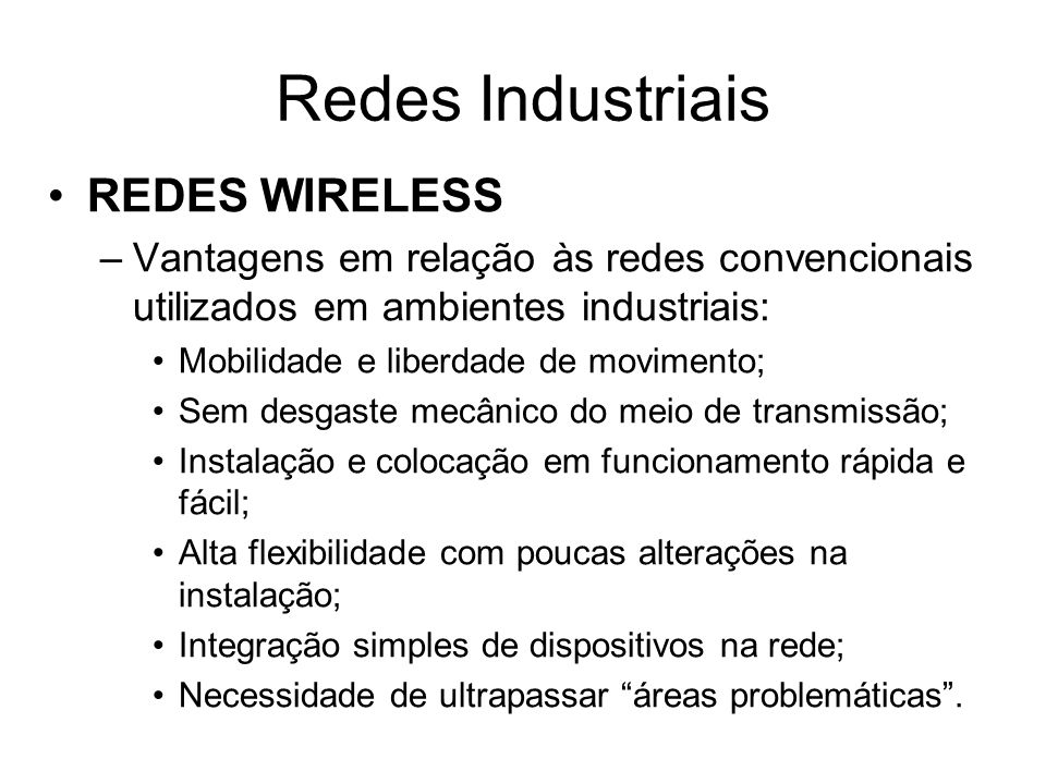 Redes Industriais REDES WIRELESS