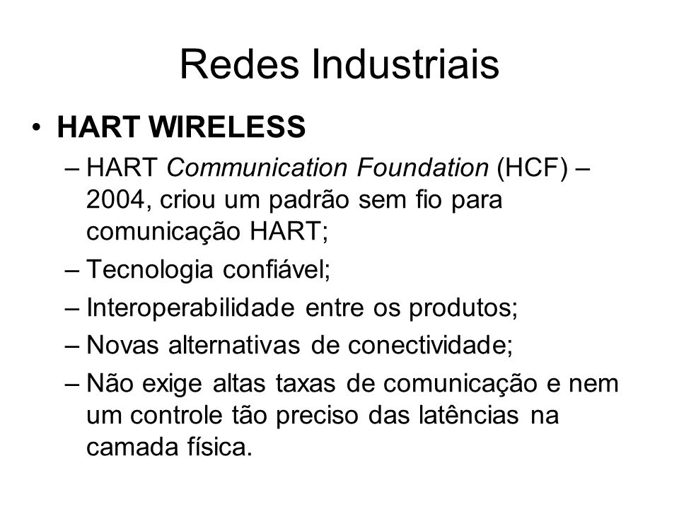 Redes Industriais HART WIRELESS