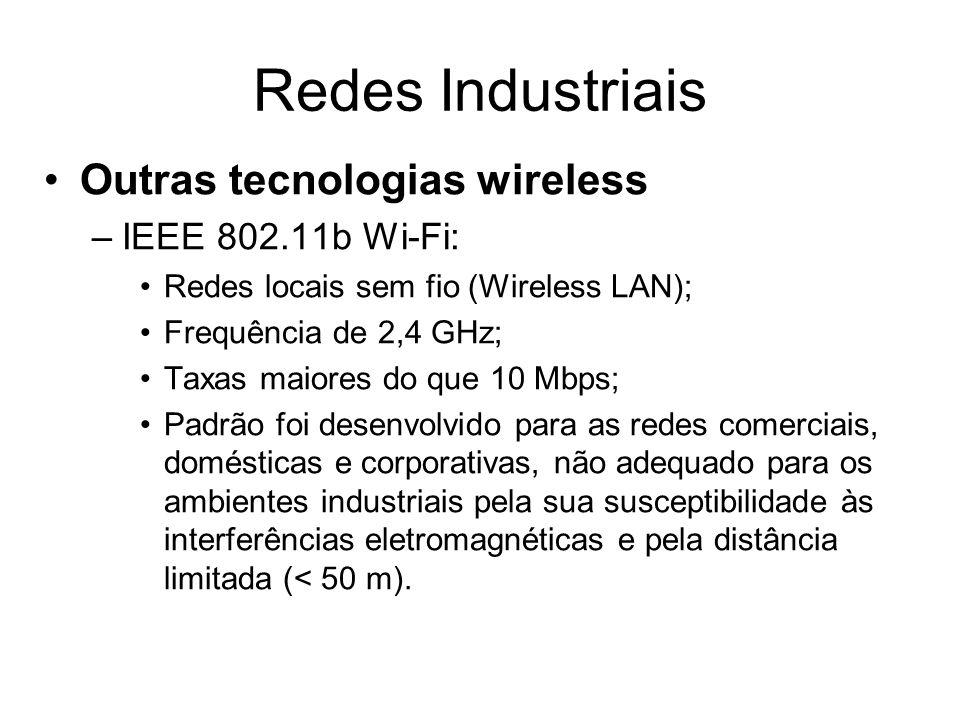 Redes Industriais Outras tecnologias wireless IEEE 802.11b Wi-Fi: