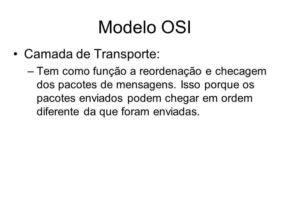 Modelo OSI Camada de Transporte: