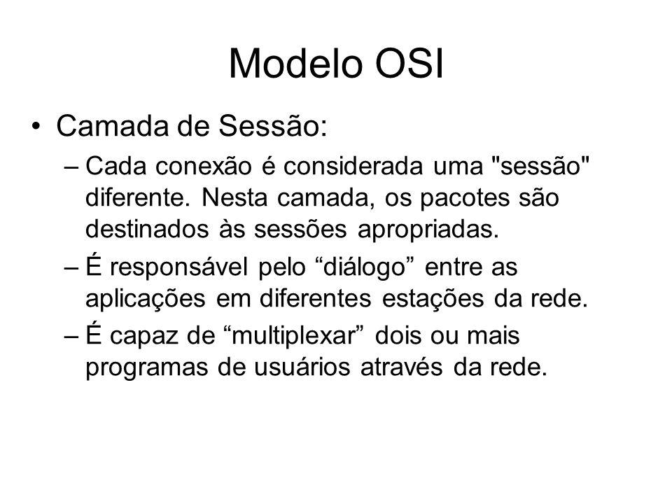Modelo OSI Camada de Sessão: