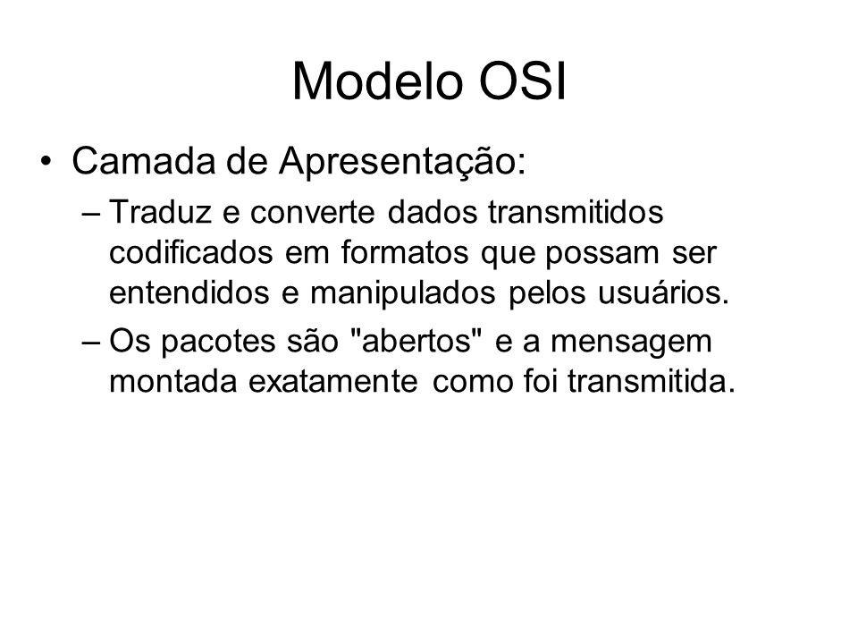 Modelo OSI Camada de Apresentação: