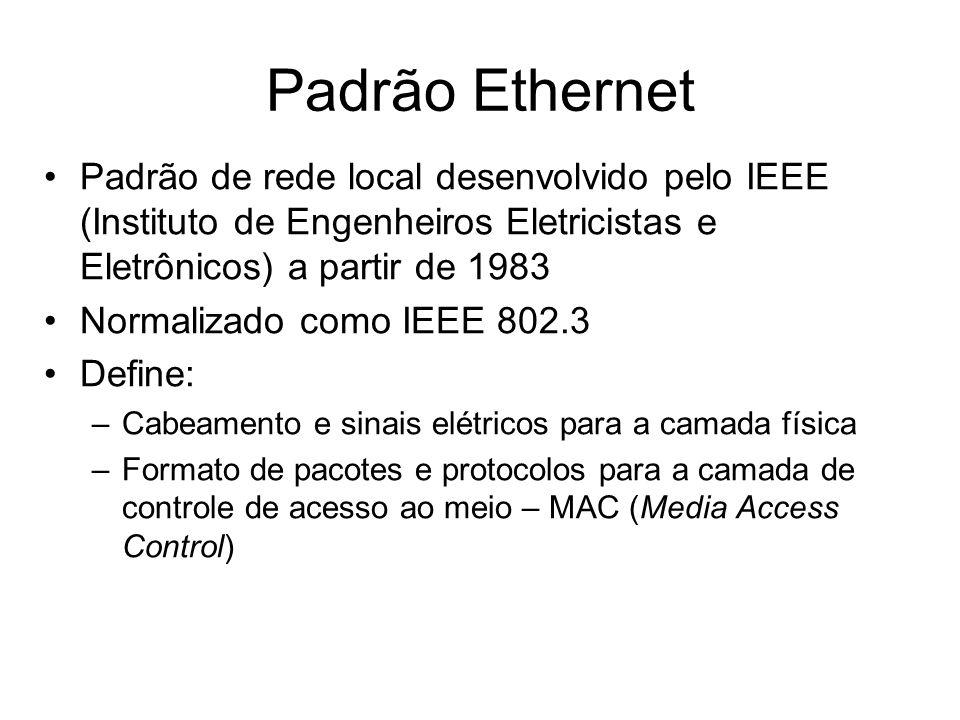 Padrão Ethernet Padrão de rede local desenvolvido pelo IEEE (Instituto de Engenheiros Eletricistas e Eletrônicos) a partir de 1983.