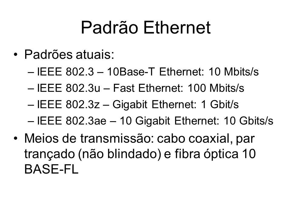 Padrão Ethernet Padrões atuais:
