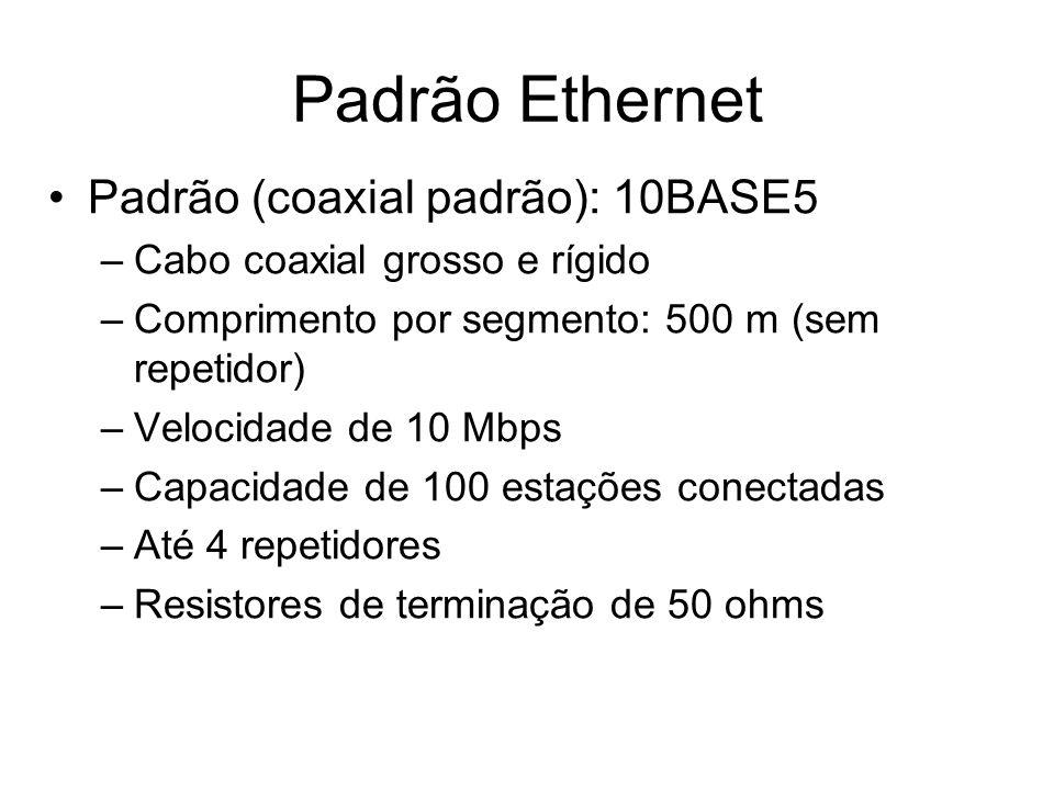Padrão Ethernet Padrão (coaxial padrão): 10BASE5