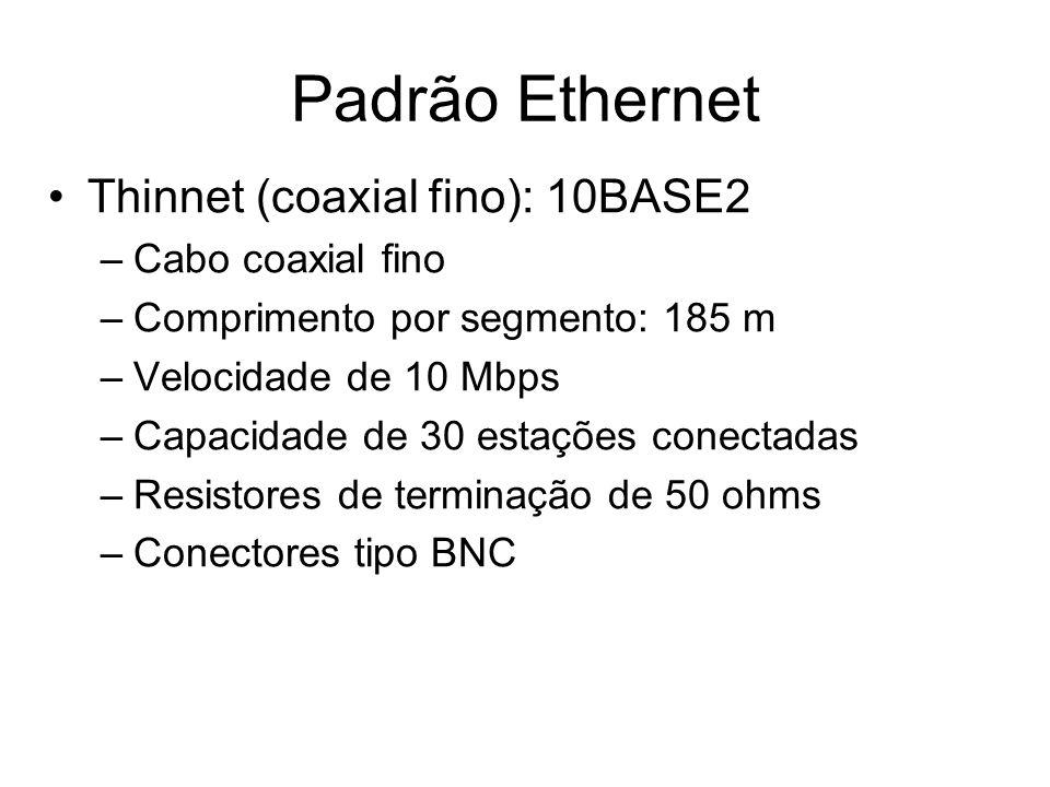 Padrão Ethernet Thinnet (coaxial fino): 10BASE2 Cabo coaxial fino