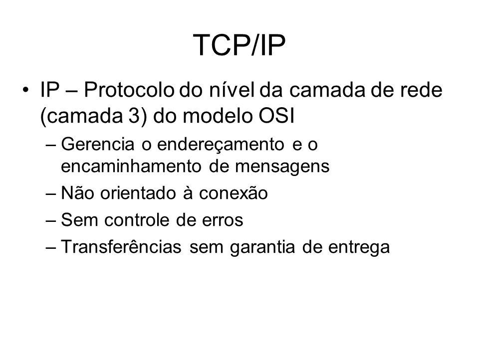 TCP/IP IP – Protocolo do nível da camada de rede (camada 3) do modelo OSI. Gerencia o endereçamento e o encaminhamento de mensagens.