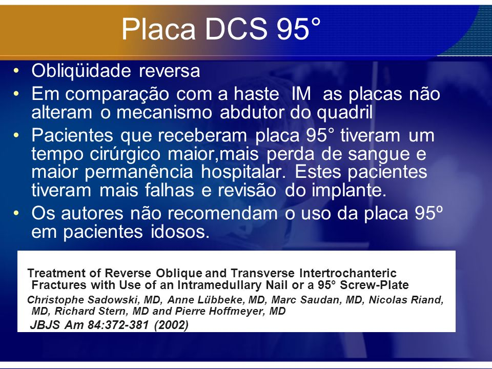 Placa DCS 95° Obliqüidade reversa