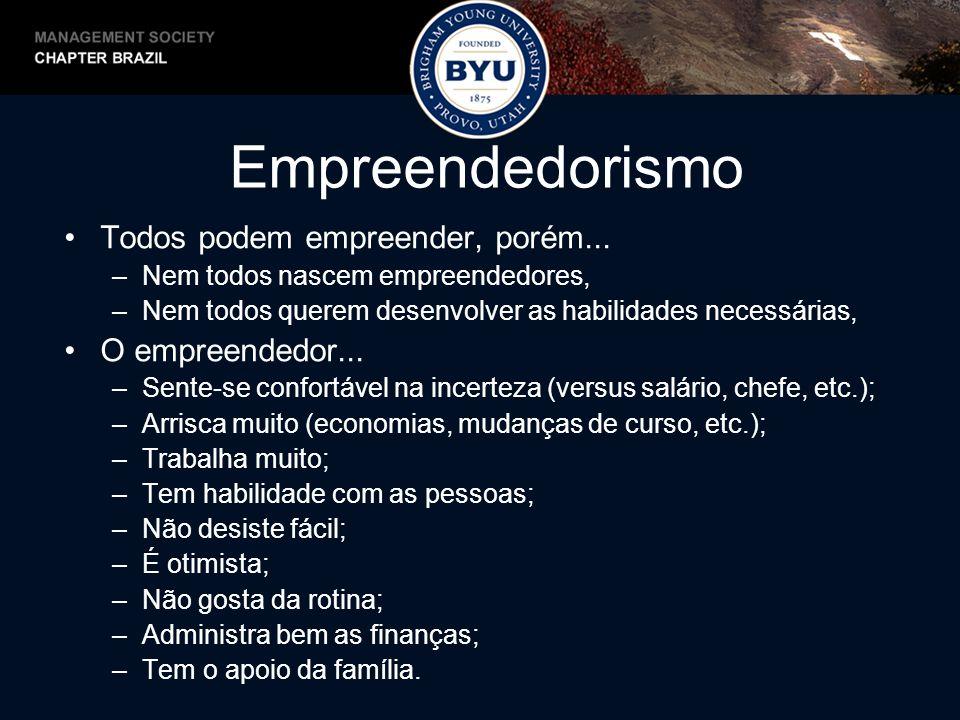 Empreendedorismo Todos podem empreender, porém... O empreendedor...