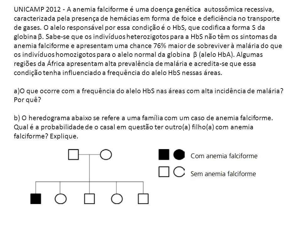 UNICAMP 2012 - A anemia falciforme é uma doença genética autossômica recessiva, caracterizada pela presença de hemácias em forma de foice e deficiência no transporte de gases. O alelo responsável por essa condição é o HbS, que codifica a forma S da globina β. Sabe-se que os indivíduos heterozigotos para a HbS não têm os sintomas da anemia falciforme e apresentam uma chance 76% maior de sobreviver à malária do que os indivíduos homozigotos para o alelo normal da globina β (alelo HbA). Algumas regiões da África apresentam alta prevalência de malária e acredita-se que essa condição tenha influenciado a frequência do alelo HbS nessas áreas.