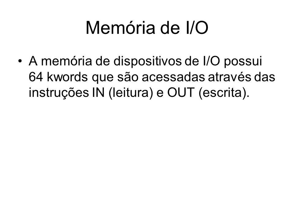 Memória de I/O A memória de dispositivos de I/O possui 64 kwords que são acessadas através das instruções IN (leitura) e OUT (escrita).