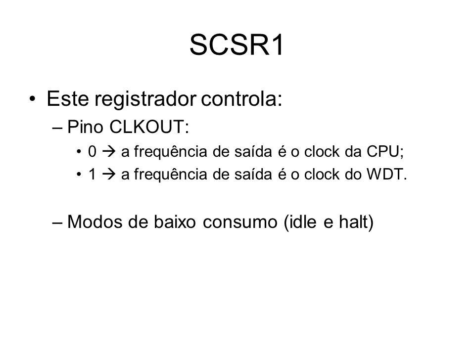 SCSR1 Este registrador controla: Pino CLKOUT: