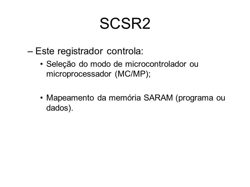 SCSR2 Este registrador controla: