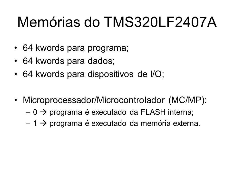 Memórias do TMS320LF2407A 64 kwords para programa;