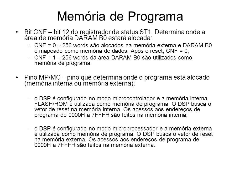 Memória de Programa Bit CNF – bit 12 do registrador de status ST1. Determina onde a área de memória DARAM B0 estará alocada: