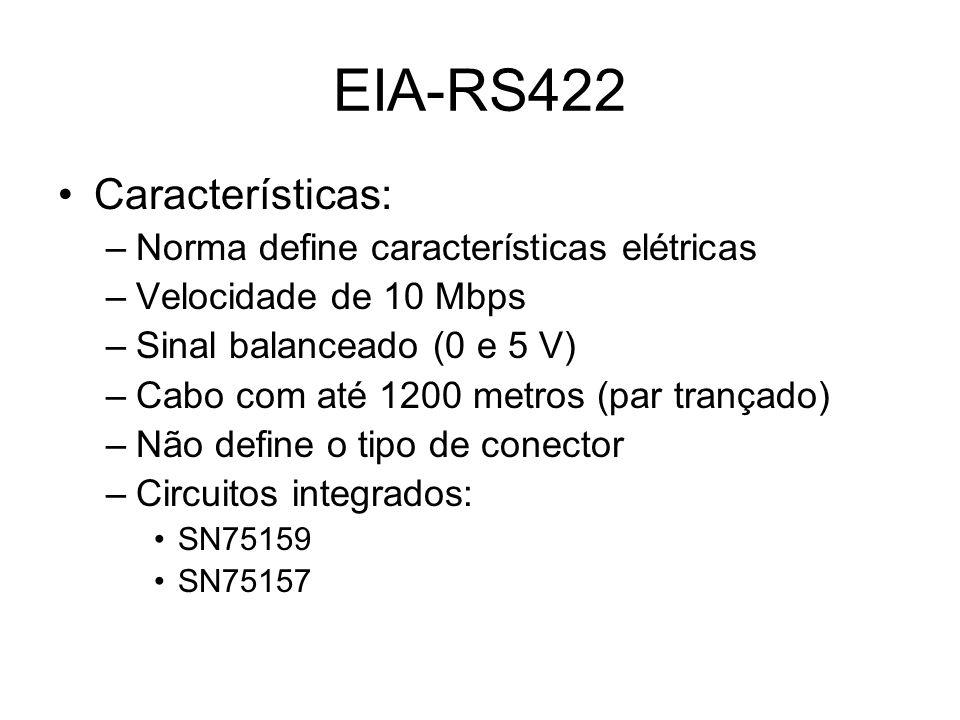 EIA-RS422 Características: Norma define características elétricas
