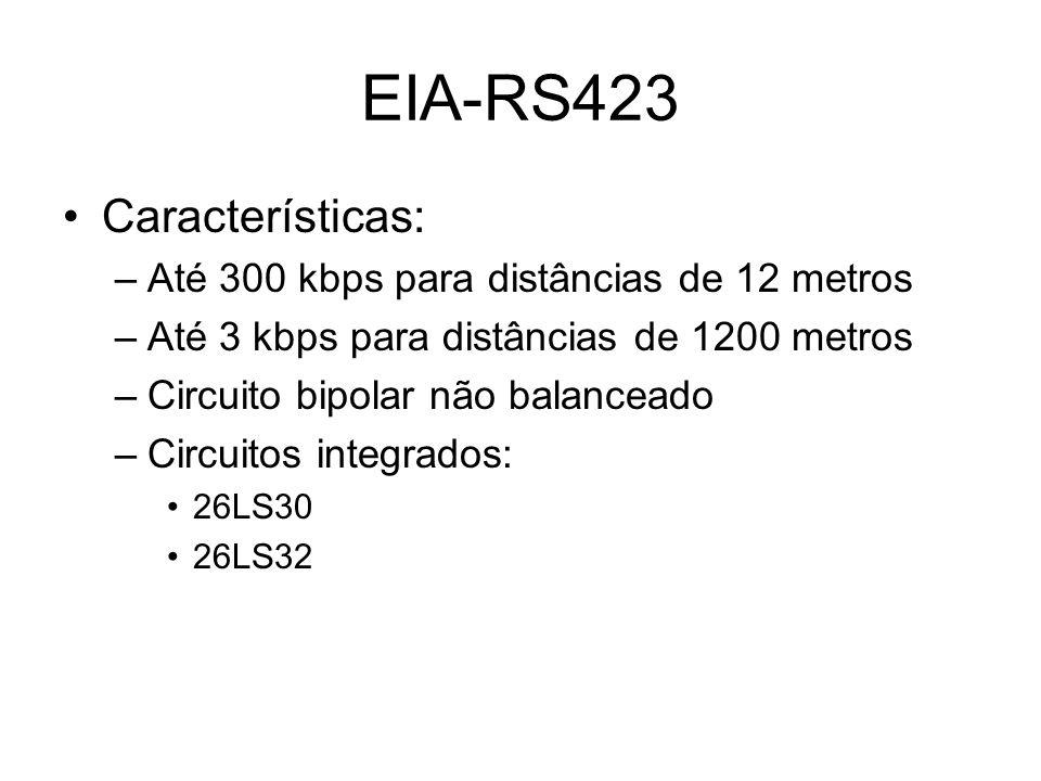 EIA-RS423 Características: Até 300 kbps para distâncias de 12 metros