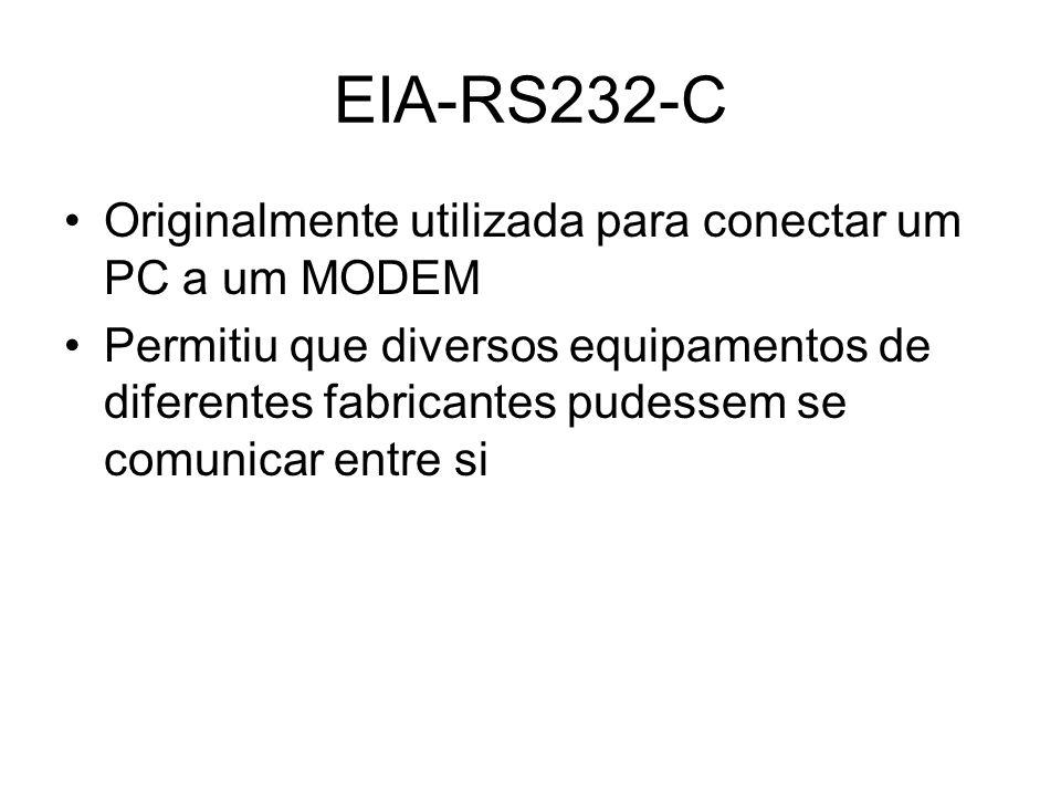 EIA-RS232-C Originalmente utilizada para conectar um PC a um MODEM