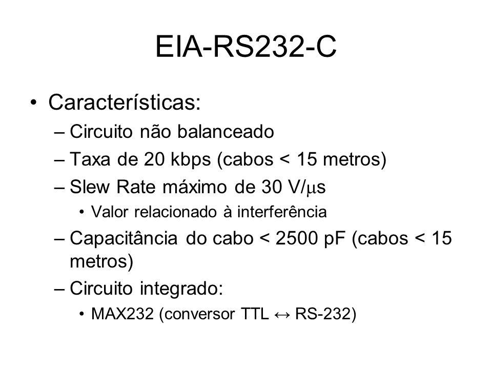 EIA-RS232-C Características: Circuito não balanceado