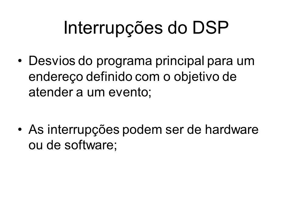 Interrupções do DSP Desvios do programa principal para um endereço definido com o objetivo de atender a um evento;