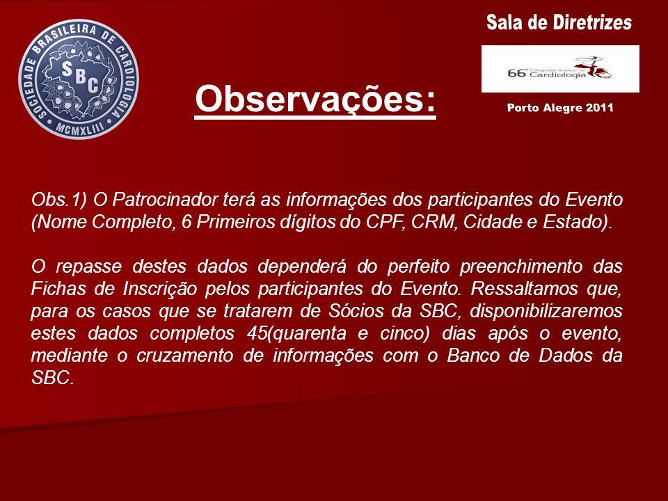Observações: Sala de Diretrizes Porto Alegre 2011