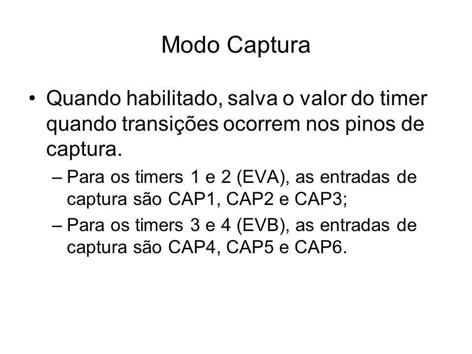 Modo Captura Quando habilitado, salva o valor do timer quando transições ocorrem nos pinos de captura.
