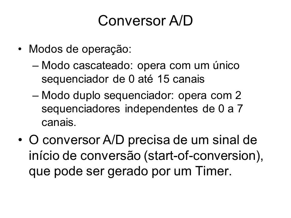 Conversor A/D Modos de operação: Modo cascateado: opera com um único sequenciador de 0 até 15 canais.